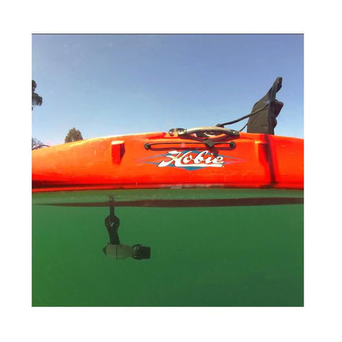 Underwater side view of a Bixpy Kayak Jet Motor Outboard Kit in use with an orange Hobie Kayak, using a Bixpy Hobie Mirage Pedal Adapter.  The Bixpy Jet Thruster is visible through the water below the kayak.