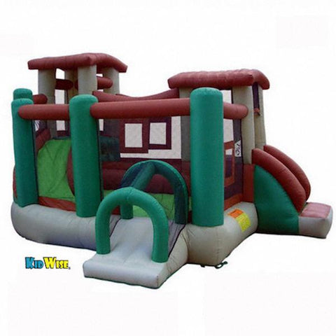 KidWise Clubhouse Climber Bounce House display view on white background with KidWise logo below.  Green, brown, tan, and gray earth tone colors.