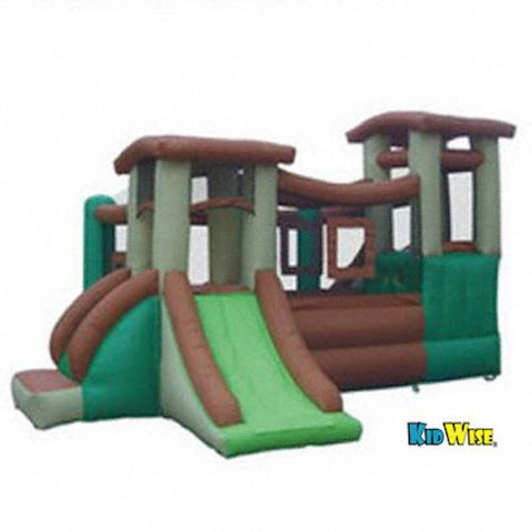 KidWise Clubhouse Climber Bouncer alternate display view of 1 slide, 1 climbing wall, catwalk, ball pit, and hideouts.