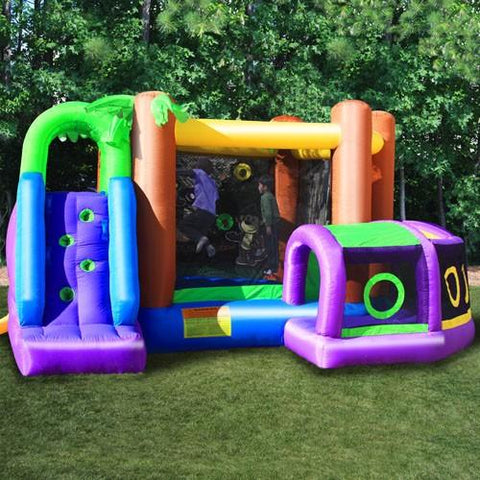 KidWise Monkey Explorer Jumper climbing wall is showcased along with a side view of the crawl tunnel and bounce house.