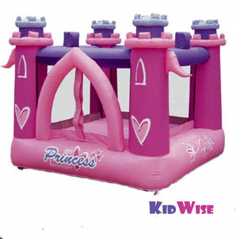 KidWise My Little Princess Bounce House.  Pink inflated floor with pink inflated castle tower supports in each corner of the square bounce house.  Inflated purple cross supports connect the castle towers.  Pink arch shaped entry is visible in front.  The view is from the front of the recreational bouncer.