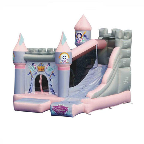 KidWise Princess Enchanted Castle With Slide Bounce House front view on a white background.  Light Purple, Pink, and Grey design with slide on the outside of the inflatable bounce house or inflatable jump house as it is also known..