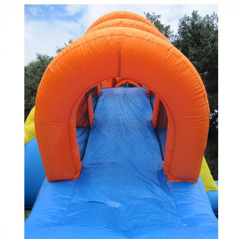 slide of the KidWise Summer Blast Waterpark with orange supports over the top for a cool design.