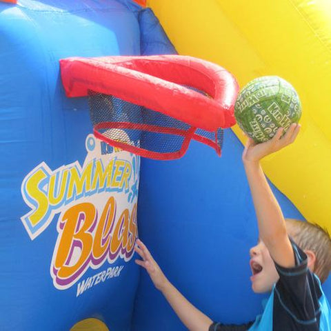 KidWise Summer Blast Waterpark basketball hoop on display with kid dunking