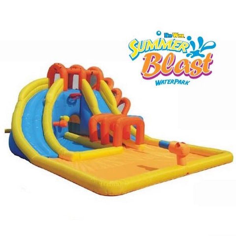 KidWise Summer Blast Waterpark front display image.  Blue, yellow, and orange color scheme.  Large orange splash zone in the front of the inflatable water park, light blue slides with yellow barriers.  Dark orange supports over the slides and slippery tunnel.