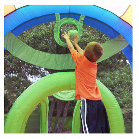 KidWise Arc Arena 2 Inflatable Sports Bounce House with young kid playing on the mesh basketball hoop.