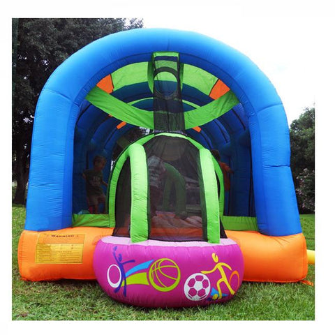 KidWise Arc Arena II Inflatable Sports Bounce House rear view showcasing the soccer goal.