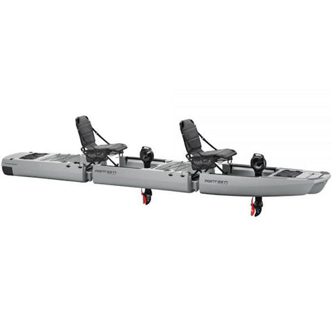 KingFisher Tandem Modular Fishing Kayak for Sale Gray version. This is a beautiful gray modular fishing kayak with 2 black seats and 2 black Impulse Pedal Drives. Black accents also on the front and rear platforms.