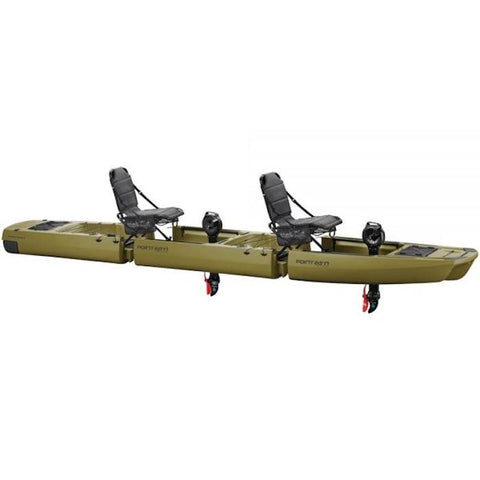 KingFisher Tandem Modular Fishing Kayak for Sale Moss Green version. It is a 3 piece modular fishing kayak for sale with 2 place seats and 2 black impulse drives.