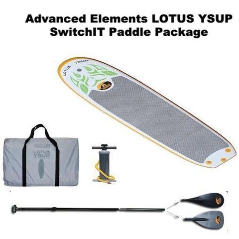 Advanced Elements Lotus Inflatable YSUP top view.  Grey carry bag and black air pump also pictured, all on a white background. Packaged with SwitchIT SUP Paddle