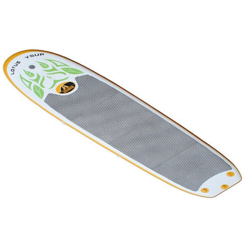 Top view of the white and orange Advanced Elements Lotus Inflatable YSUP with grey standing and sitting pad.