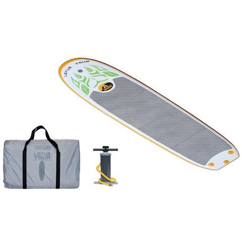 Advanced Elements LOTUS Inflatable Paddle Board top view with gray carry bag and air pump.