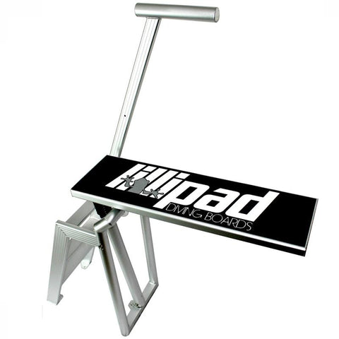 Lillipad Diving Board - Boat Diving Board Surface Mount. Aluminum stairs, handle, and frame with a black diving board surface featuring the Lillipad Diving Board logo on top.