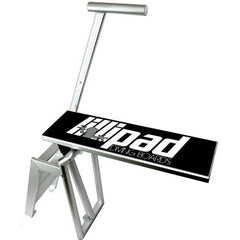 Lillipad Boat Diving Board - Surface Mount. Aluminum stairs, handle, and frame with a black diving board surface featuring the Lillipad Diving Board logo on top.  White background.