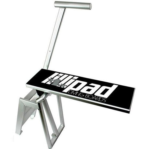 Lillipad Diving Board - Pontoon Boat Diving Board Surface Mount. Aluminum stairs, handle, and frame with a black diving board surface featuring the Lillipad Diving Board logo on top.  White background.