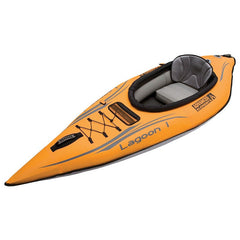 Top/Side display view of the orange and grey Advanced Elements Lagoon 1 Solo Inflatable Kayak on a white background.
