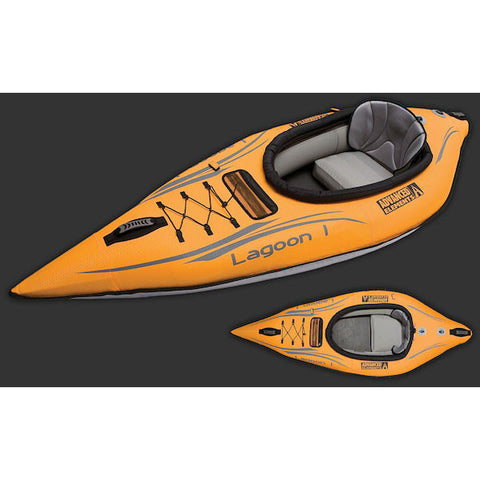Advanced Elements Lagoon 1 Solo Inflatable Kayak top views of the orange and grey inflatable kayak.
