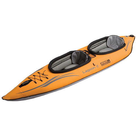The Advanced Elements Lagoon 2 Person Inflatable Kayak is orange with grey interior and highlights. Image on a white background.