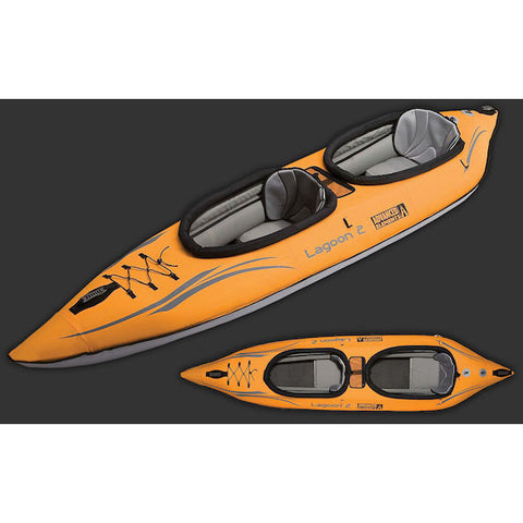 Top view of the orange/grey Advanced Elements Lagoon 2 Person Tandem Inflatable Kayak