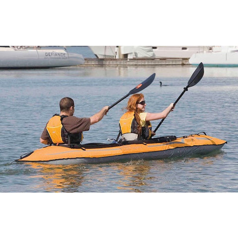 Advanced Elements Lagoon 2 Person Inflatable Kayak being paddled out on the water