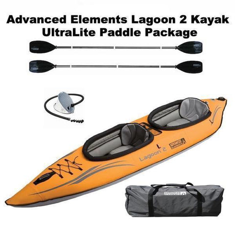 Advanced Elements Lagoon 2 Person Inflatable Kayak UltraLite Paddle Package