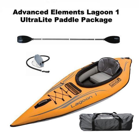 Advanced Elements Lagoon 1 Person Inflatable Kayak UltraLite Paddle Package