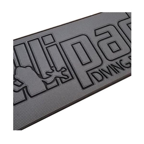 Lillipad Diving Board for Pontoon Boats Dark Gray/Black Textured Foam Diving Board Surface. The main color of the textured foam is dark gray with black outline of the Lillipad Diving Board for Boats logo and wording.