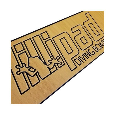 Lillipad Diving Board for Boats Mocha/Black Textured Foam Boat Diving Board Surface.  The main color of the textured foam is mocha with black outline of the Lillipad Boat Diving Board logo and wording.