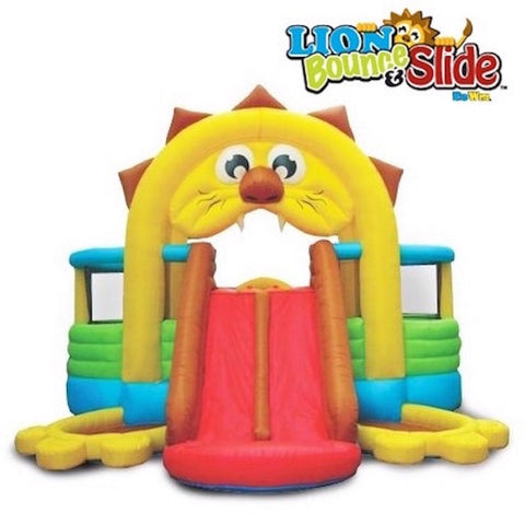 KidWise Lion's Den Bounce House front view of the Lion KidWise Bounce House with the Lions red tongue being the dual slide.  The color scheme of the KidWise Bounce House showcases the yellow lions mane and and brown hair. | KidWise Bouncer