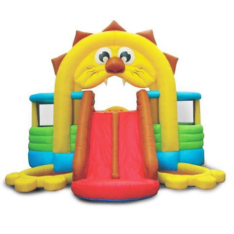 KidWise Lions Den Bounce House front view of the Lion KidWise Bounce House with the Lions red tongue being the dual slide.  The color scheme of the KidWise Bounce House showcases the yellow lions mane and and brown hair. | KidWise Bouncer | KidWise Inflatable Bouncer