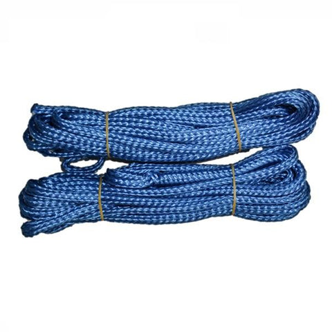 Blue mooring lines for Power House Ice Eater.  Lines are shown neatly wound up and wrapped up.