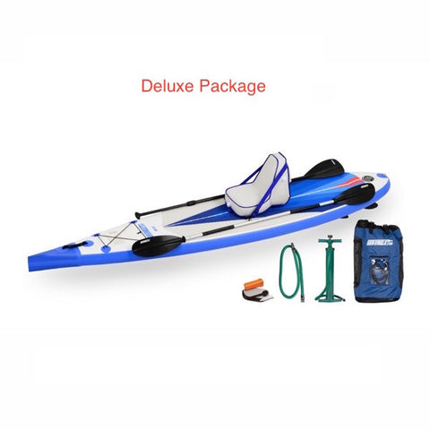 Sea Eagle NeedleNose 116 Inflatable SUP Deluxe Package top display view with the bag and pump sitting next to the Sea Eagle inflatable SUP.