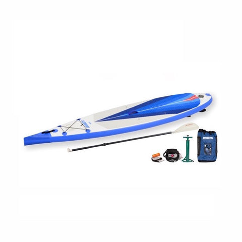 Sea Eagle NeedleNose 116 Inflatable SUP top display view with the bag and pump sitting next to the Sea Eagle inflatable SUP.  The Royal blue, grey, and white design makes the Sea Eagle NN 116 Inflatable SUP really stand out and look great.