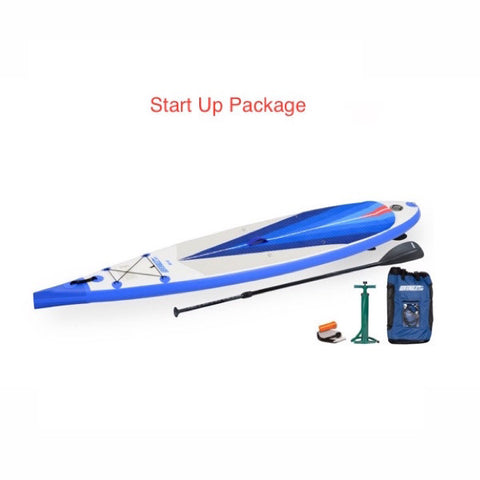 Sea Eagle NeedleNose 116 Inflatable SUP Start Up Package top display view with the bag and pump sitting next to the Sea Eagle inflatable SUP.