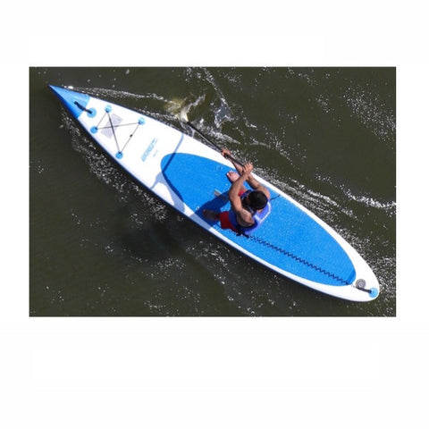 Sea Eagle NeedleNose 116 Inflatable SUP top view out on the water paddled by 1 person.