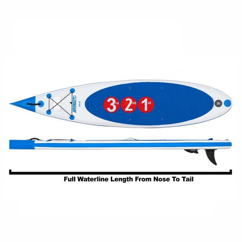 Sea Eagle NeedleNose 116 Inflatable SUP top view, side view with diagram.