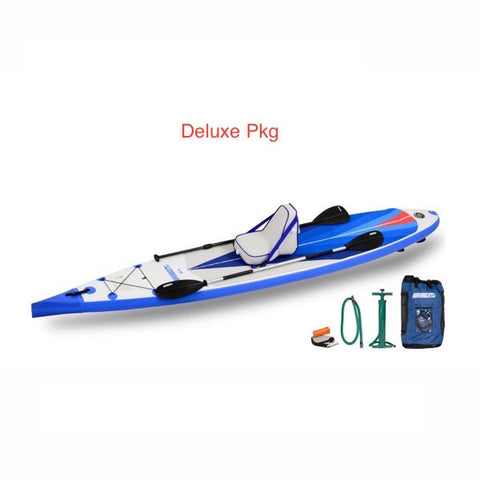 Sea Eagle NeedleNose 14 Inflatable SUP Deluxe Package top display view with the bag and pump sitting next to the Sea Eagle inflatable SUP.