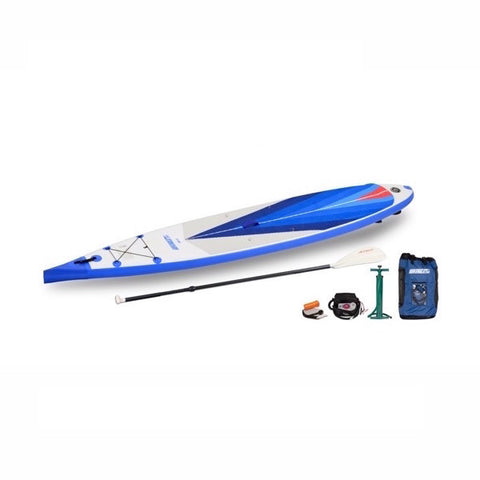 Sea Eagle NeedleNose 14 Inflatable SUP top display view with the bag and pump sitting next to the Sea Eagle inflatable SUP.