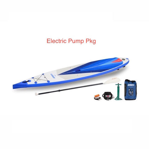 Sea Eagle NeedleNose 14 Inflatable SUP Electric Pump Package top display view with the bag and pump sitting next to the Sea Eagle inflatable SUP.