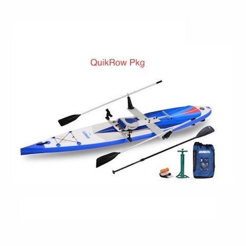 Sea Eagle NeedleNose 14 Inflatable SUP QuikRow Package top display view with the bag and pump sitting next to the Sea Eagle inflatable SUP.