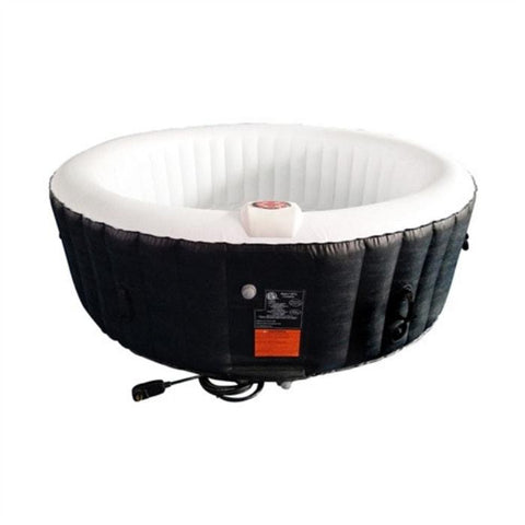 Aleko 265 Gallon 6 Person Round Inflatable Hot Tub Spa With Cover - Black and White