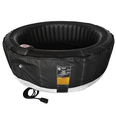 Aleko 210 Gallon 4 Person Round Inflatable Hot Tub Spa With Zip Cover - Black
