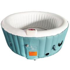 Aleko Round 4 Person Inflatable Hot Tub Spa with Cover - Light Blue and White