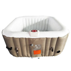 Aleko Square 4 Person Inflatable Hot Tub Spa - Brown