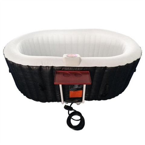 Aleko 145 Gallon 2 Person Inflatable Hot Tub with Cover and Drink Tray and Cover - Black and White