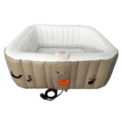 Aleko Square 6 Person Inflatable Hot Tub Spa with Cover - Brown and White