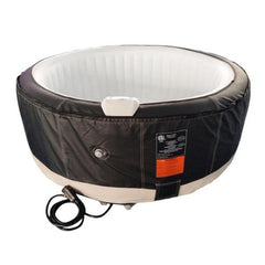 Aleko Round 4 Person Inflatable Hot Tub Spa - Black and White