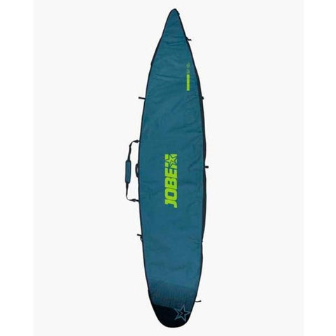 Jobe SUP Carry Bag 12.6 - Dark teal green with light green Jobe Sup Carry Bag lettering.  The top of the bag comes to a point to accommodate the large 12.6 SUP Board.  There is a carry handle in the middle portion on the top seam.