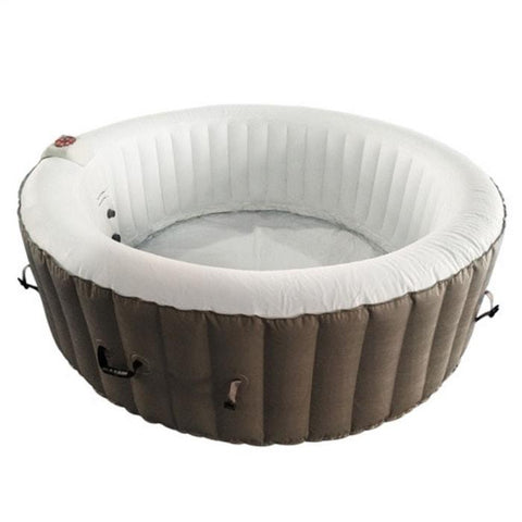 Aleko 265 Gallon 6 Person Round Inflatable Hot Tub Spa With Cover - Brown and White