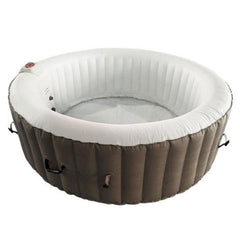 Aleko Round 6 Person Inflatable Hot Tub Spa - Brown and White